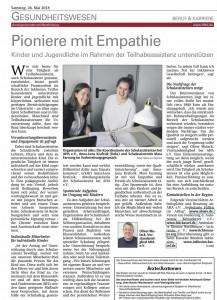 Schulassistenz - Pioniere mit Empathie (HNA 26.05.2018)